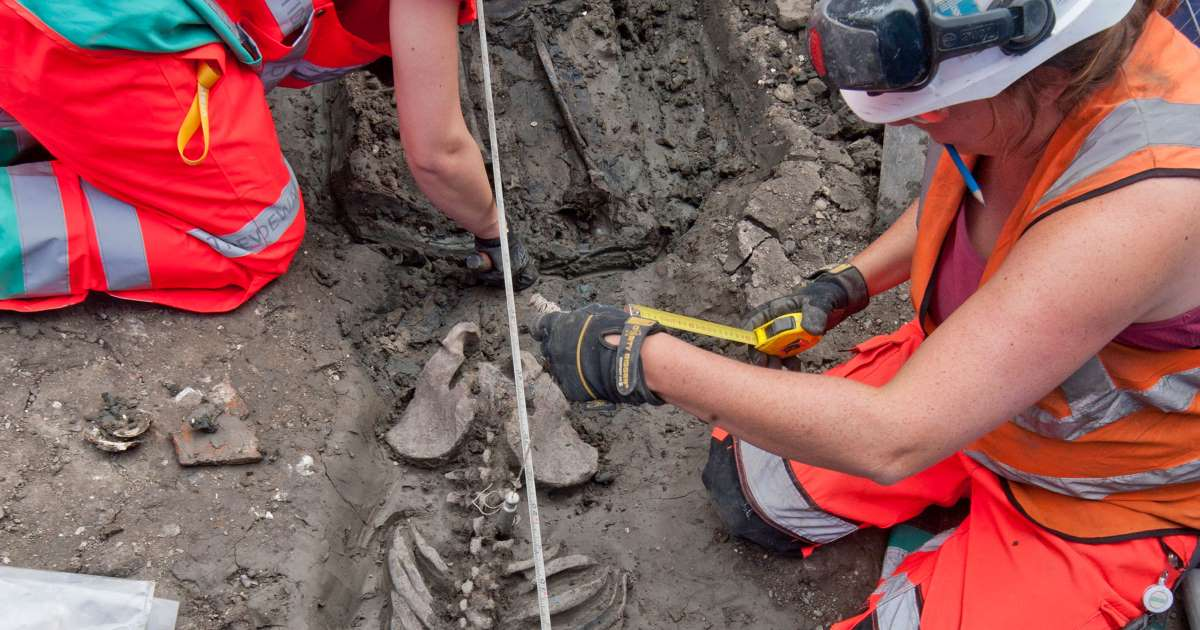 The bones of a medieval man uncovered beside London's R...